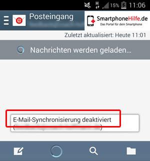 E-mail Synchronisation deaktiviert