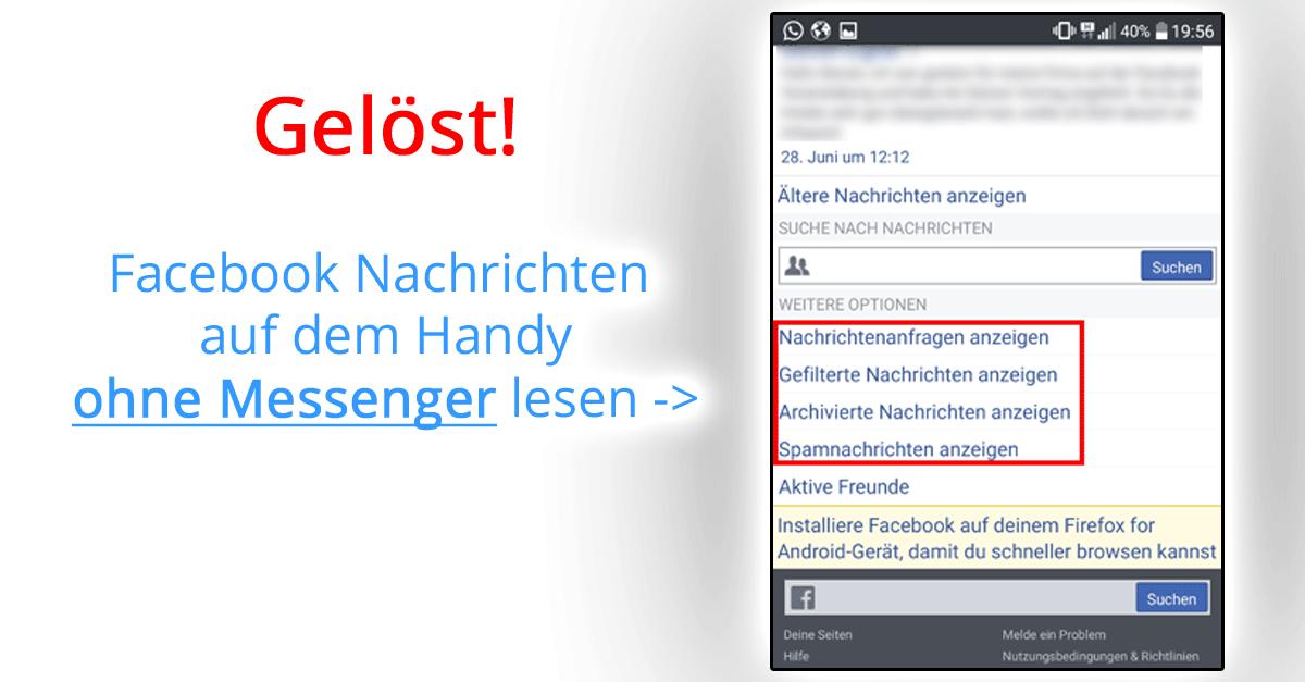 Facebook Messenger: Gefilterte Nachrichten lesen